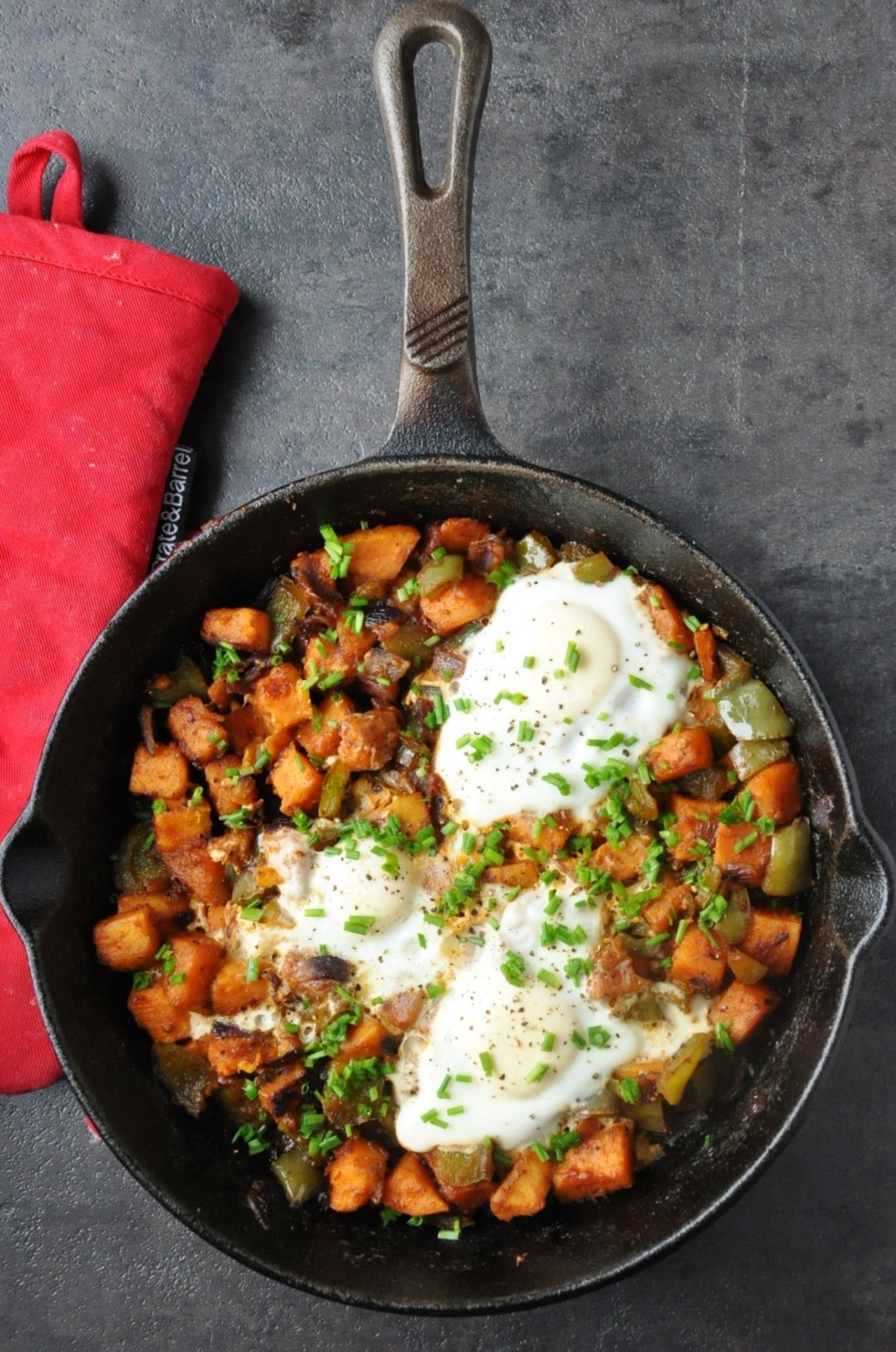 Spicy BBQ Sweet Potato Hash Eggs