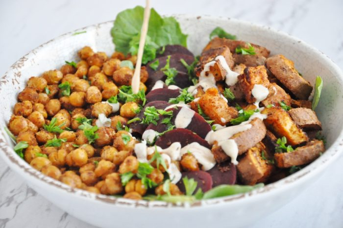 Roasted Sweet Potatoes and Chickpeas Buddha Bowl