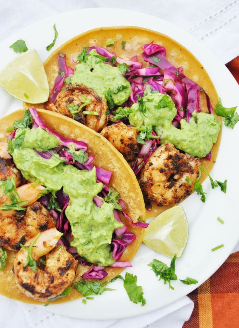 Cajun Shrimp Tacos with Avocado Cream Sauce