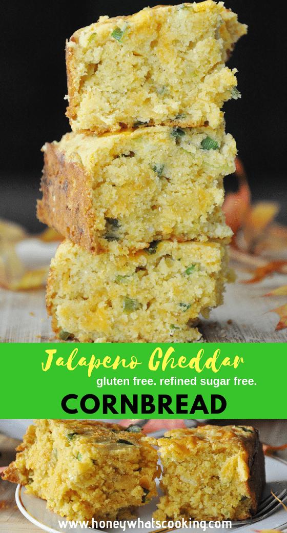 Jalapeno Cheddar Cornbread (gluten-free, refined sugar free)