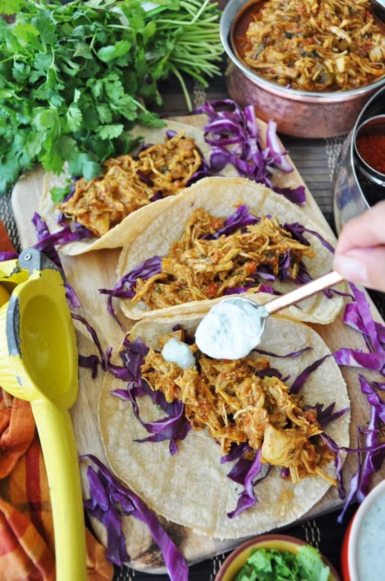 Shredded Tandoori Chicken Tacos