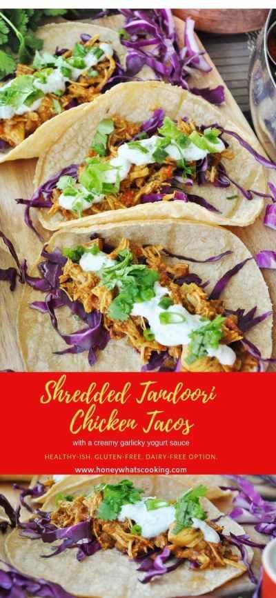 Pin Shredded Tandoori Chicken Tacos