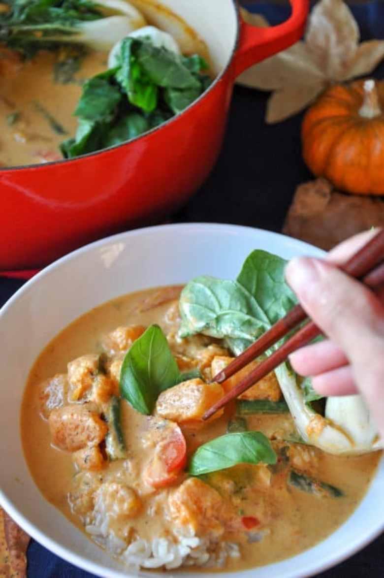 Thai Butternut Squash Red Curry (gluten-free, vegan option)