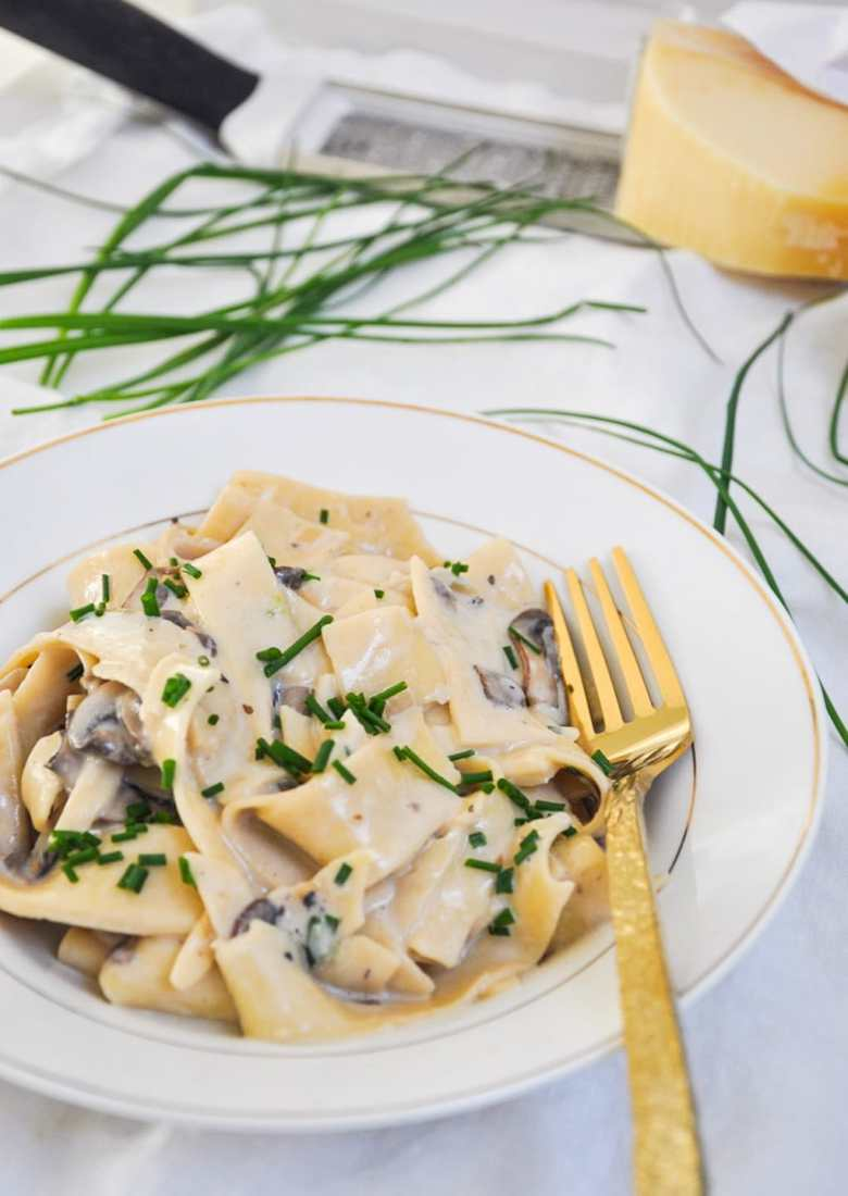 Truffle Butter Mushroom Pappardelle (no cream, vegetarian)