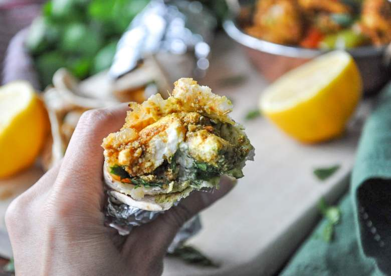 Paneer Kathi Roll (vegetarian, gluten-free option)