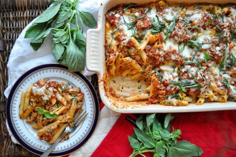 Baked Ziti with Spinach (vegetarian, vegan option, gluten-free option)
