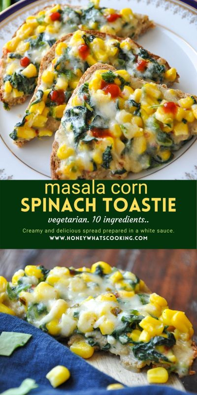 masala corn spinach toastie (vegetarian, gluten-free option)