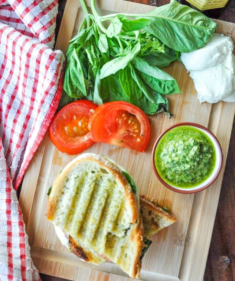 Pesto Caprese Panini (vegetarian, gluten-free option)