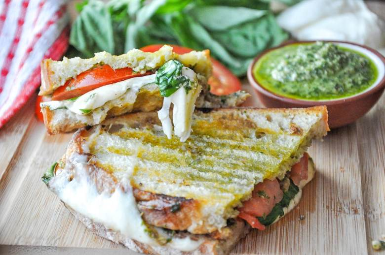Pesto Caprese Panini (vegetarian, gluten-free option)