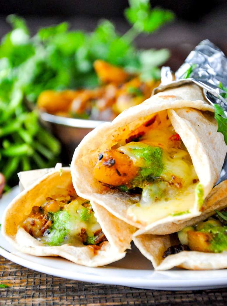 Achari Aloo Kati Roll (vegan option, gluten-free option)