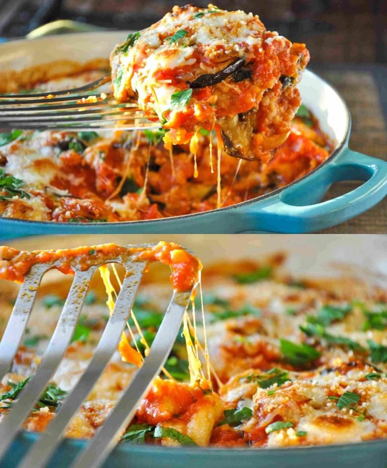 Baked Eggplant Parmesan (GF option, Vegan option, Vegetarian)