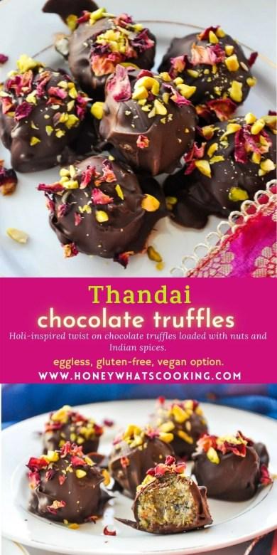 Thandai Truffles (eggless, gluten free, vegan option)