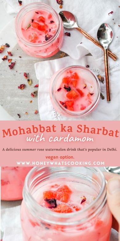 Mohabbat ka Sharbat with Cardamom | Watermelon Rose Drink