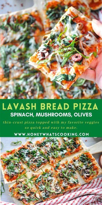 Lavash Bread Pizza (Vegetarian, Healthyish, 8 Ingredients)