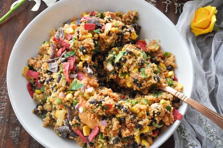 Quinoa Taco Salad with Chipotle Ranch (vegan, healthy, gf)