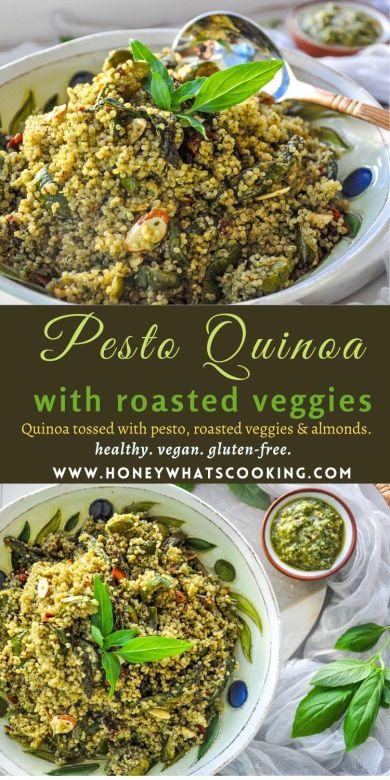 Pesto Quinoa with Roasted Veggies (vegan, healthy, gluten-free) #quinoa #pesto #healthy