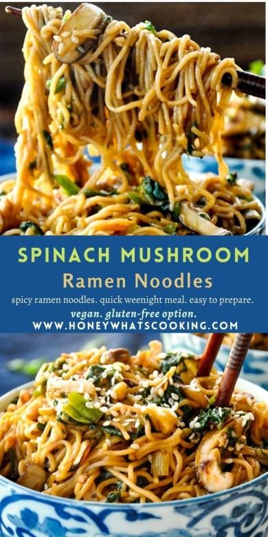 Spinach Mushroom Ramen Noodles #ramennoodles #spicynoodles #mushroomnoodles #vegannoodles