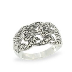 4-Row Interlocking Swirl Pave Set Marcasite Link Ring