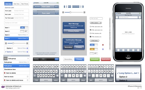 iphone ui Yahoo! Design Stencil Kit For Designers
