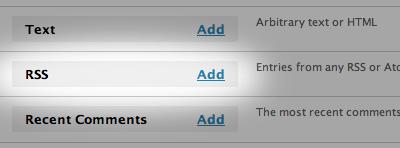 rss widget How to Display Facebook Statuses on WordPress Blog