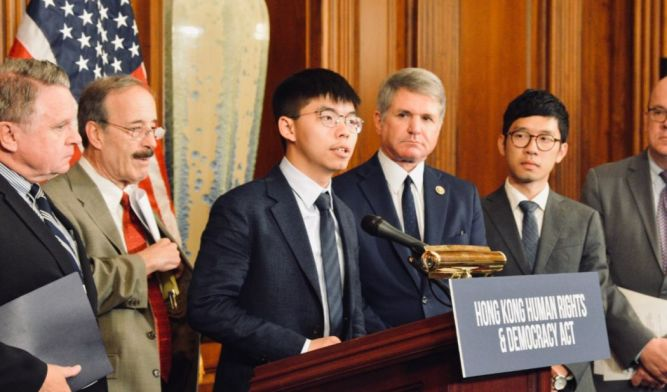 Image result for Joshua Wong with U.S. Congress