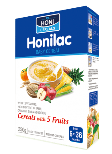 Honilac Baby Cereal with five fruits flavors 250 gr box