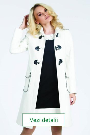 Palton elegant de dama culoarea alb si maro
