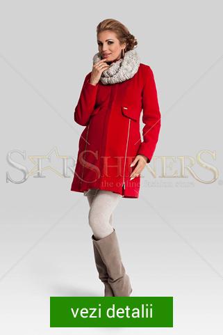 palton rosu pentru gravide