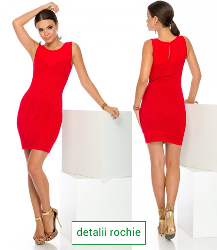 rochie rosie din material elastic