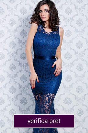 rochie albastra mulata din dantela