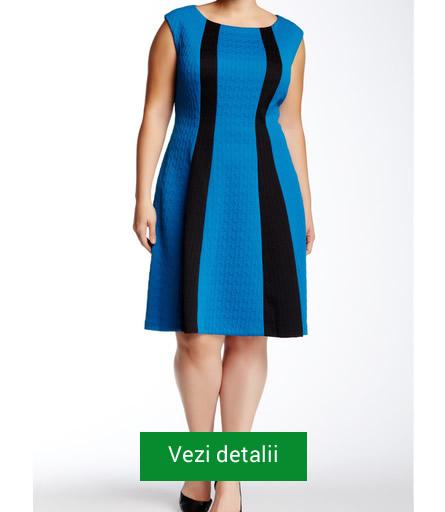 Rochie albastra cu negru pentru femei grasute