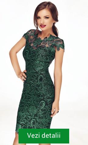 Rochie verde de revelion cu dantela