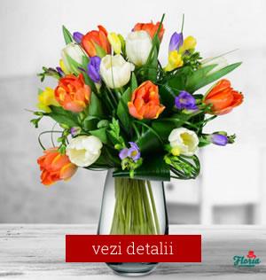 Buchet de flori pentru 8 martie cu lalele si frezi