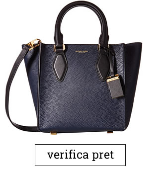 Geanta Michael Kors Gracie Small Tote Grained French Calf albastra