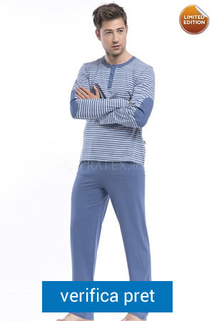 pijama de barbati albastra in dungi