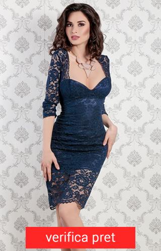 rochie din dantela albastra inchis trei sferturi