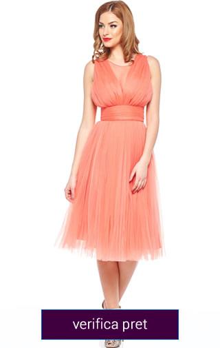 rochie domnisoara de onoare coral
