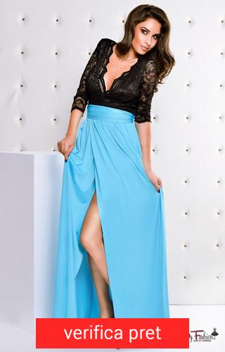 rochie lunga albastru cu negru