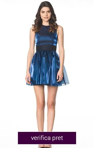 rochie scurta albastra cu negru
