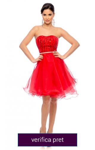 rochie rosie scurta de ocazii
