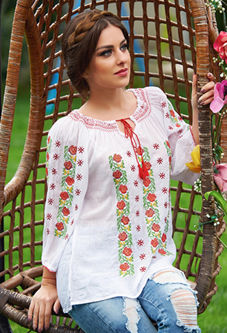 Bluza tip ie traditionala cu snur rosu