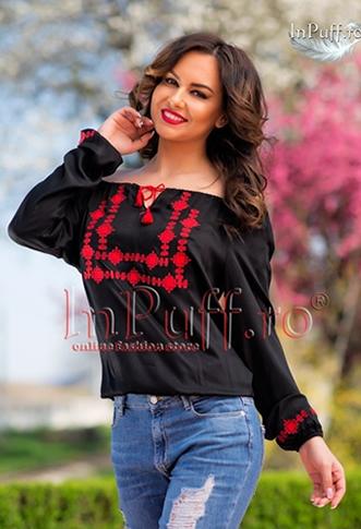 Bluza tip ie traditionala de culoare neagra cu broderie rosie