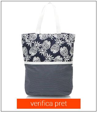 Geanta pentru plaja bleumarin cu alb Esprit Bodywear