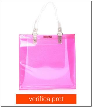 Geanta de plaja roz stralucitoare GUESS