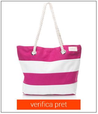 geanta de plaja alb cu roz Skiny