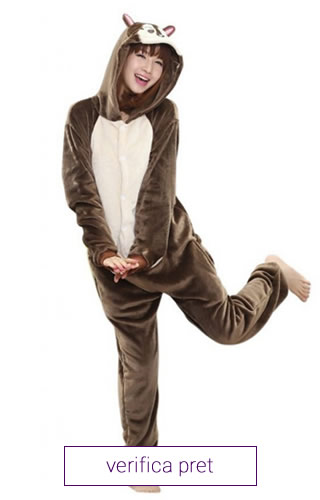 Pijama interaga de dama tip salopeta, model veverita