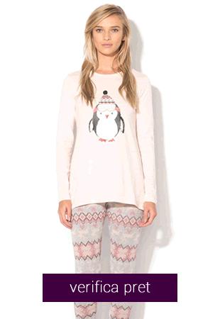 Pijama dama roz pal cu gri