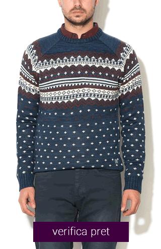 Pulover albastru melange tricotat