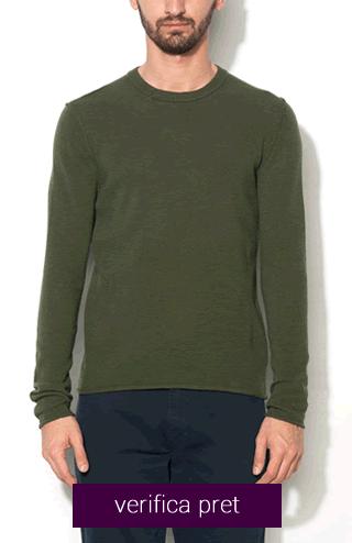 Pulover verde de lana si casmir