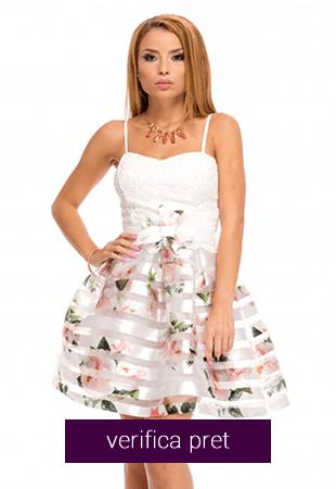 Rochie cu imprimeu floral si dantela brodata
